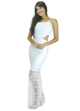 Vestido feminino longo renda detalhe cintura festa