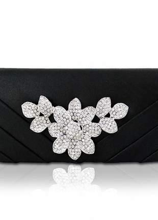 Bolsa clutch festa flor com strass preta