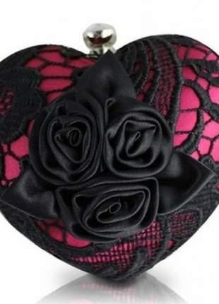 Bolsa clutch festa de coração rosa com rendas preta