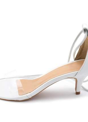 Sandália social feminina branca com tira transparente amarrar na perna salto baixo