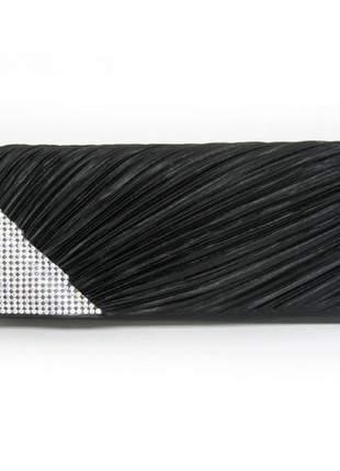 Bolsa clutch festa drapeada com strass preta