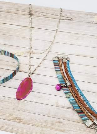 Kit pulseira e colares com pedra natural de ágata pink
