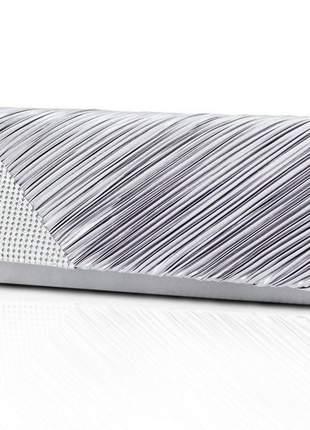 Bolsa clutch festa drapeada com strass prata