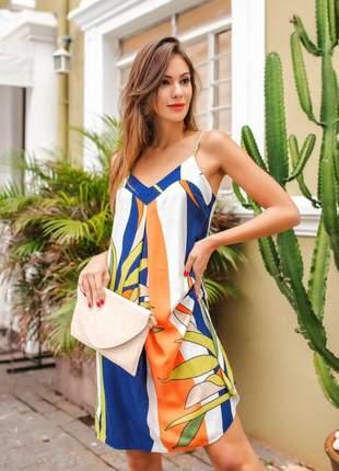 Vestido midi alto verão estampa floral colors alcinhas finas em viscolinho soltinho.