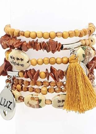 Conjunto de pulseiras com cristais de pedra do sol