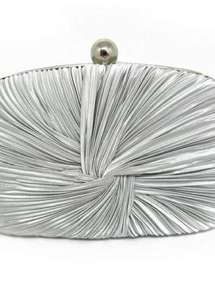 Bolsa clutch festa drapeada prata