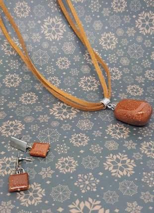 Kit colar e brinco de cristal de pedra do sol
