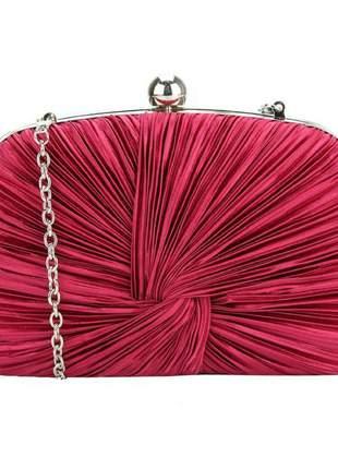 Bolsa clutch festa drapeada rosa