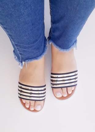 Sandália chinelo rasteirinha slide listras preta branca dourado