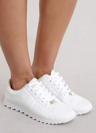Tênis moleca jogging tira lateral feminino branco