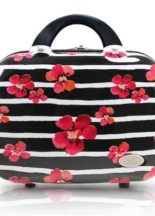 Frasqueira de viagem com estampa floral preta