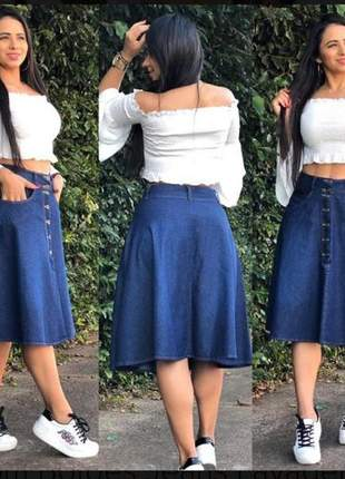 Saia jeans feminina botão rodada