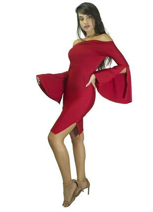 Vestido tubinho manga flare ombro a ombro com fenda