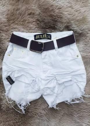 Short jeans cintura alta branco da julie promoção verão