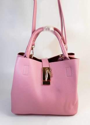 Bolsa bag cintia rosa - em couro ecológico