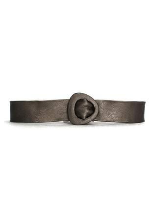Cinto couro dali shoes faixa metalizado prata