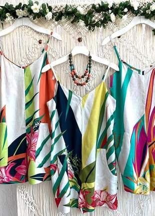 Blusa alcinhas finas summer colors folhas e folhagens em viscolinho.