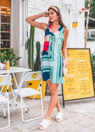 Vestido midi viscolinho estampa geométrica summer colors.