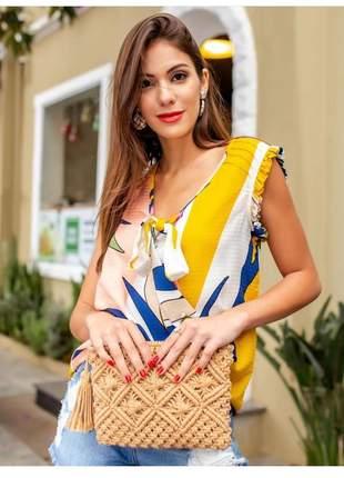 Blusa bata soltinha laço estampa tropical colors summer.