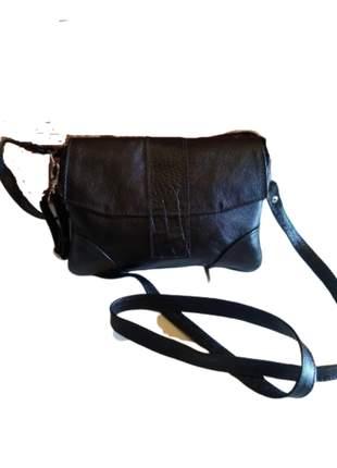 Bolsa de couro legítimo média couro macio com duas alças transv/ombro aba de croco