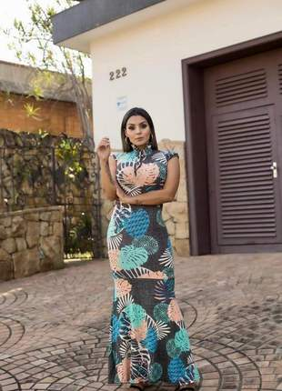 Vestido longo modelo sereia com manguinha japonesa lançamento