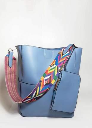 Bolsa bag clara azul - bolsa feminina, de ombro e couro ecológico