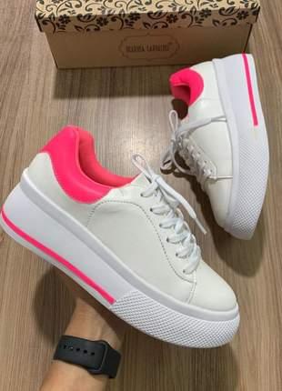 Tênis feminino marina carvalho  branco rosa