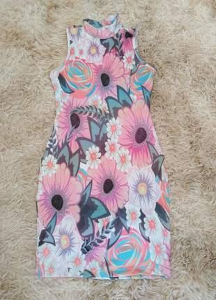 Vestido floral gola moda evangélica verão alegre