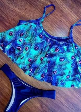 Biquíni top blusinha com bojo e alças reguláveis