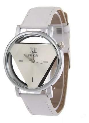 Relógio unisex triangulo transparente, elegante couro