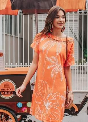 Vestido midi estampa basic palmeiras laranja