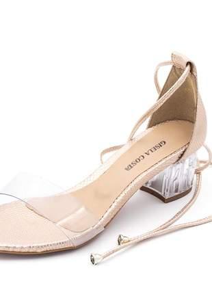 Sandália rosê tira e salto transparente amarrar na perna