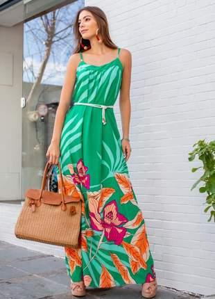 Vestido longo floral verde água fluído e soltinho em viscolinho.