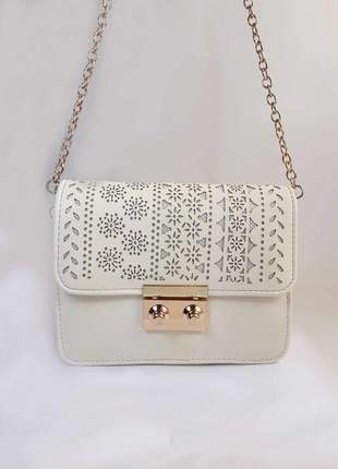 Bolsa bag larissa branca - em couro ecológico