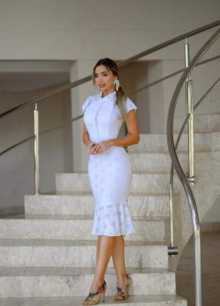 Vestido midi branco/ salmao/ preto