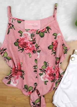 Blusa regata cropped floral com amarração rosa bs252