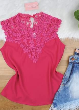 Blusa regata detalhe guipir rosa bs09