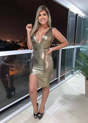 Vestido midi com fenda na lateral reveion 2019