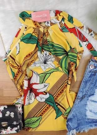 Blusa regata floral amarração gola amarela bs336