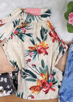 Blusa regata floral amarração gola multicor bs344