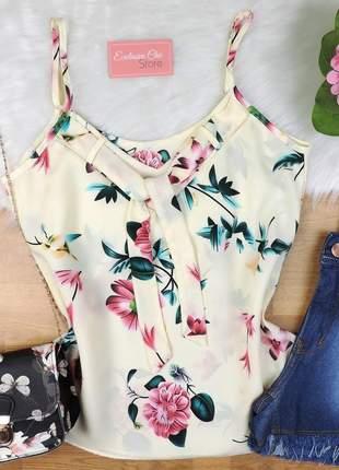 Blusa regata floral com amarração creme bs329