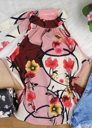 Blusa regata floral amarração gola rosa bs354