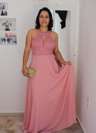 Vestido festa rosê longo lindo e elegante madrinha formanda aniver
