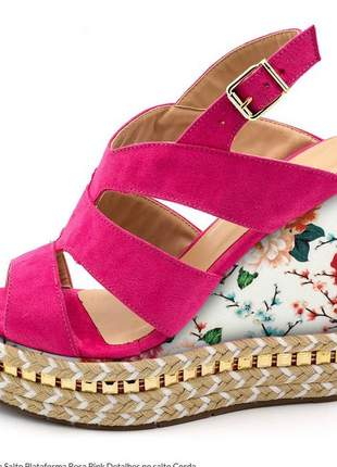 Sandália anabela rosa pink salto floral