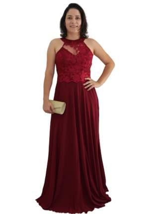 Vestido festa marsala noite longo bordado luxo saia princesa