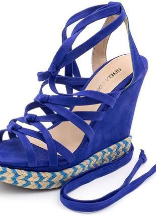Sandália anabela gladiadora de nó em nobucado azul bic corda