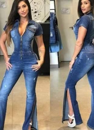 Macacão manguinha flaire consciência jeans