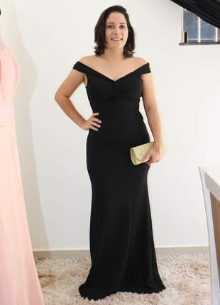 Vestido preto de festa longo elegante ombro a ombro sensual chique