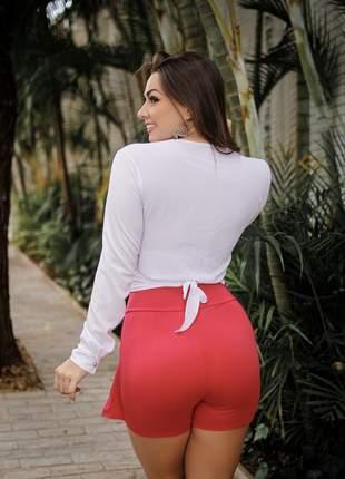 Conjunto feminino short saia + cropped manga longa nó
