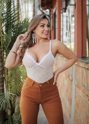 Body blusa feminina feminino renda arrastão bojo alcinha
